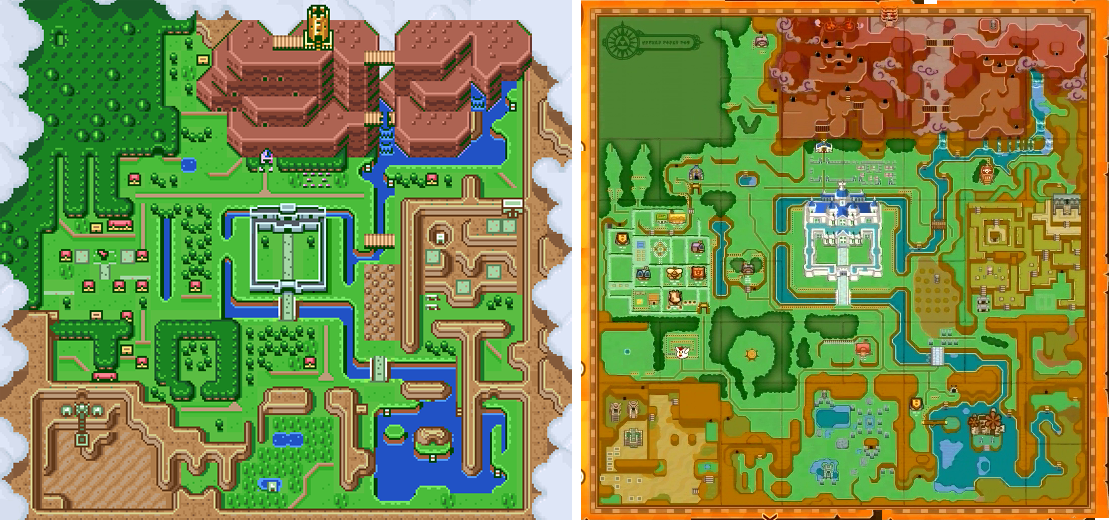 Comparação dos mapas de Hyrule entre A Link to the Past e A Link Between Worlds