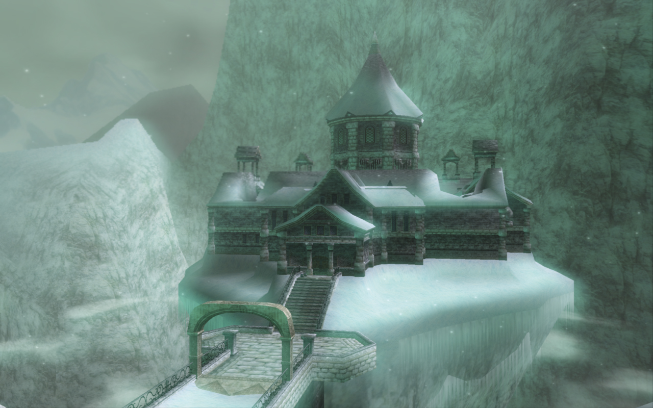 Vista externa de Snowpeak Ruins, em Twilight Princess